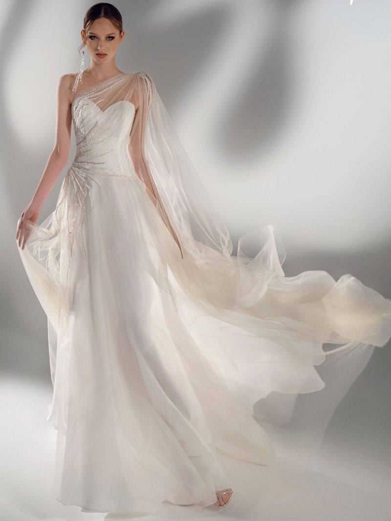 A-line wedding dress with one-shoulder cape sleeve