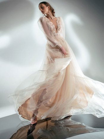Puff sleeve A-line wedding dress with V-plunging neckline