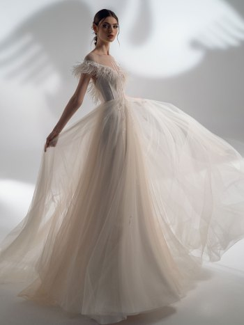 Off-the-shoulder A-line wedding dress with feather decor