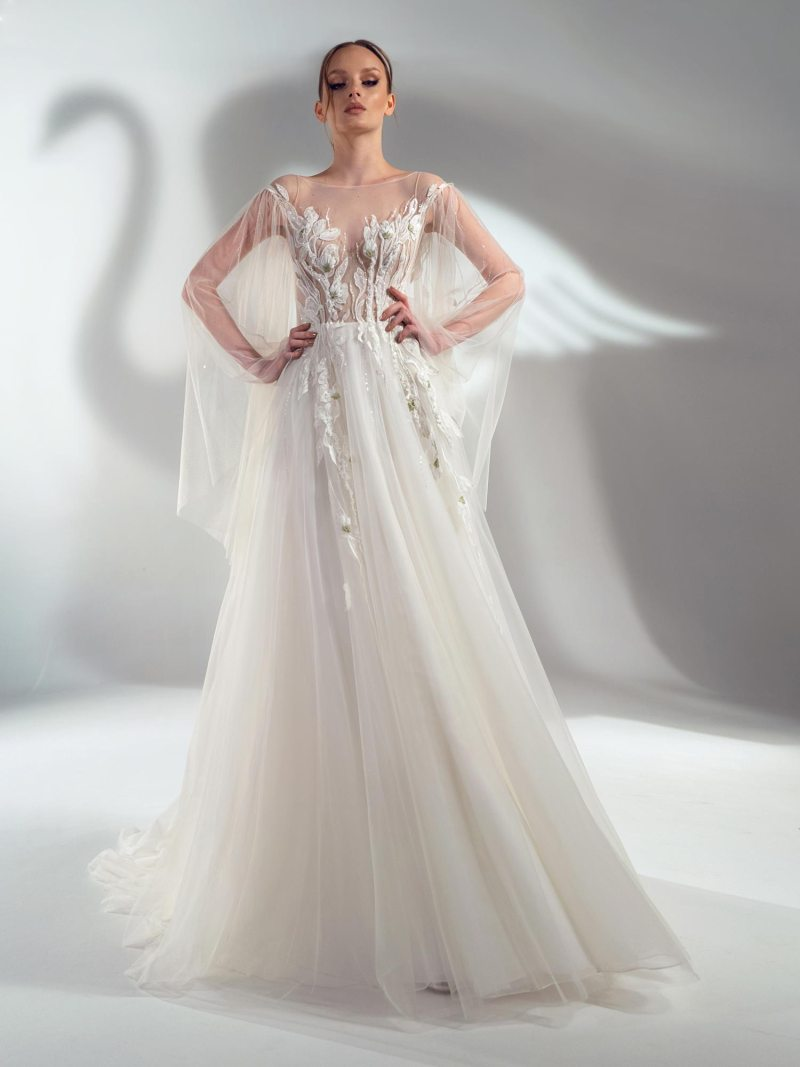 Cape sleeve A-line wedding dress with floral applique