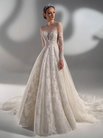 Beaded lace ball gown with long sleeves