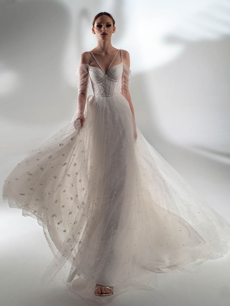 Off the shoulder sleeve A-line wedding dress with pearls