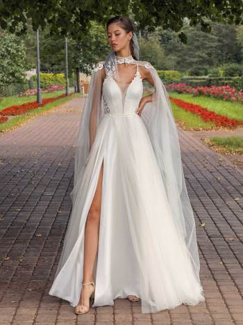 Spaghetti-strap A-line wedding dress with detachable cape