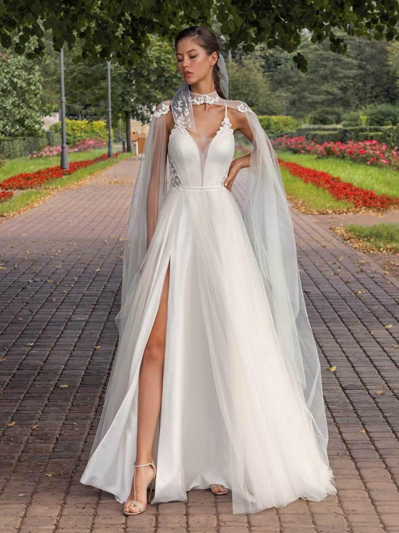 Spaghetti-strap A-line wedding dress with detachable cape