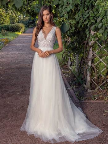 A-line wedding dress with a deep V-neckline lace bodice and illusion back