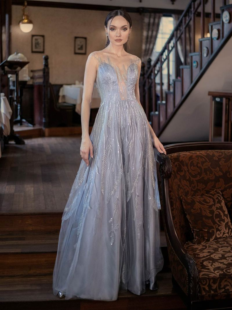 Beaded A-line evening gown with plunging neckline