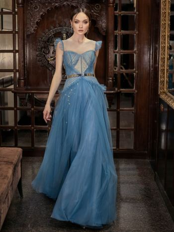Tulle A-line evening dress with ruffles