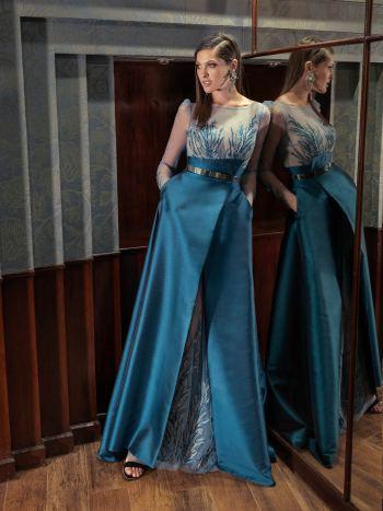 Long-sleeve formal gown with mikado skirt and metallic belt