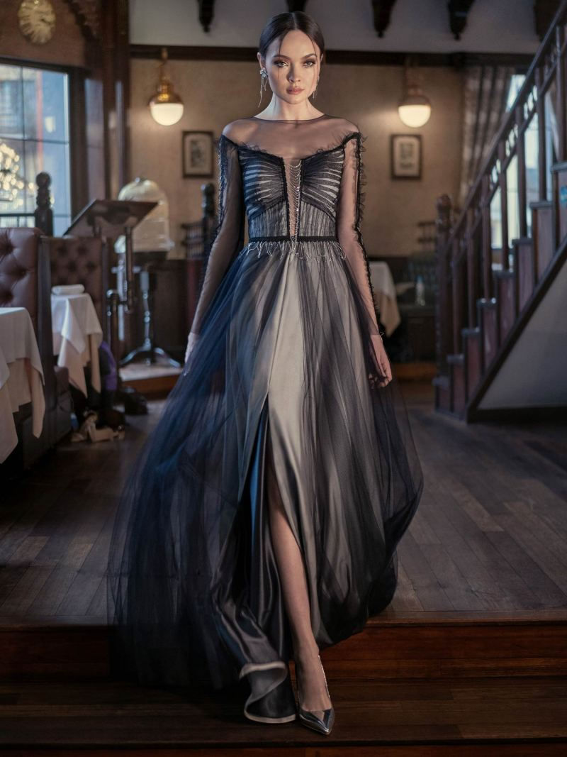 Long sleeve evening dress with a slit