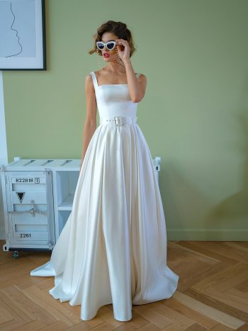 Satin ball gown with square neckline