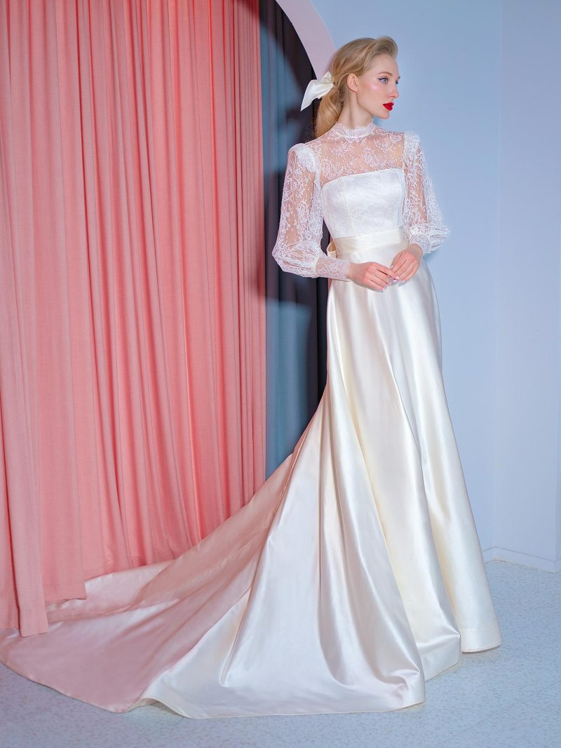 High neck wedding gown with long sleeves