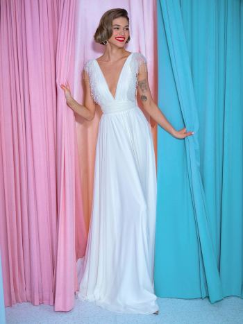 Sheath wedding gown with V neck and open back