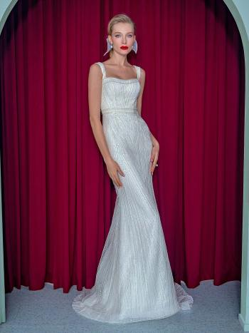 Fit and flare wedding dress with detachable train