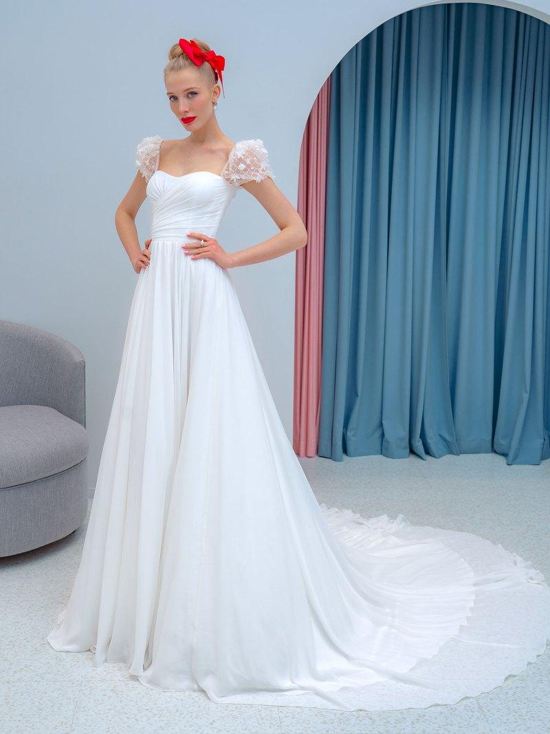 Sheath wedding dress with cap sleeves