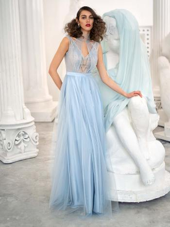 A-line evening dress with beaded bodice