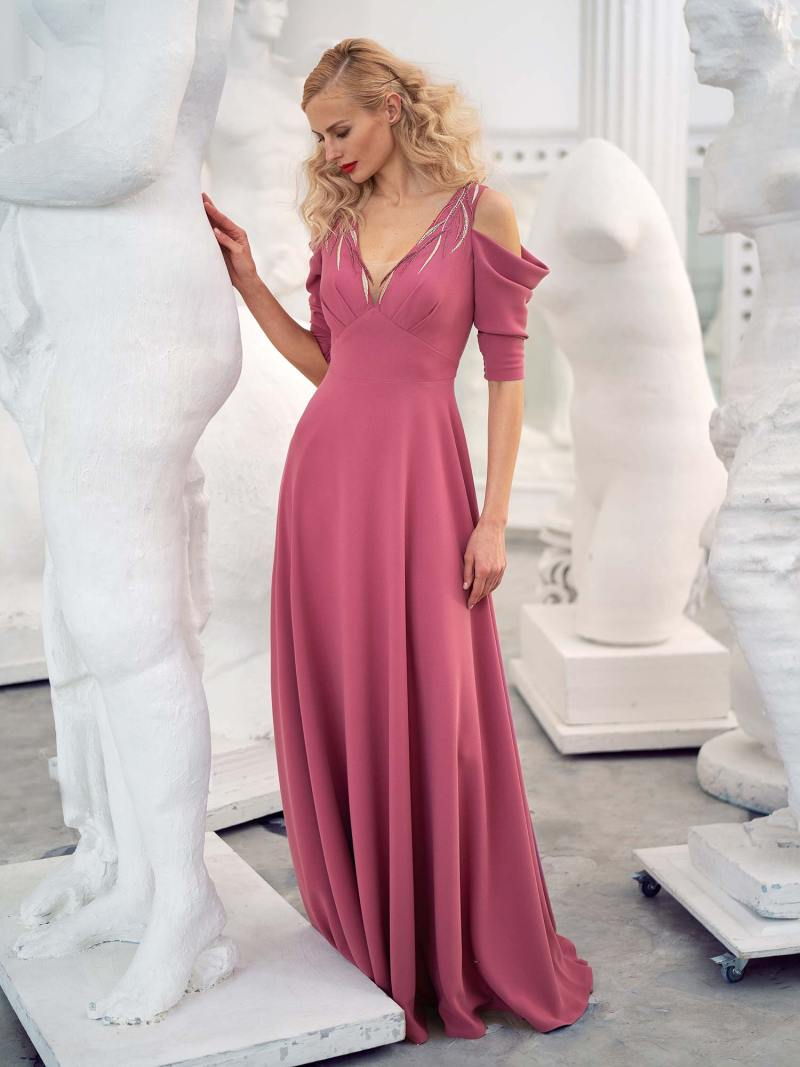 Crepe A-line evening gown with cold shoulders