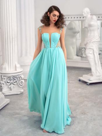 Chiffon sheath dress with an illusion plunging neckline