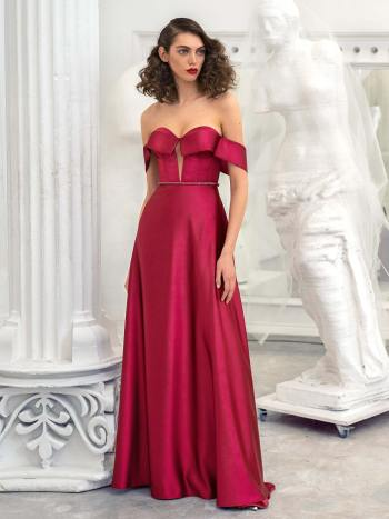 Satin sheath evening gown with off the shoulder sleeves