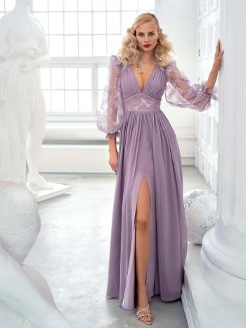 Chiffon sheath gown with balloon sleeves