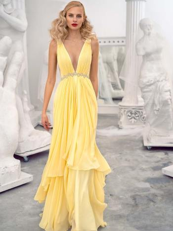 Chiffon evening dress with a plunging neckline