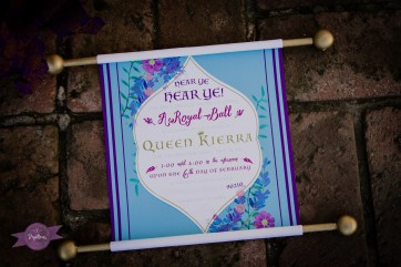 Custom designed princess party scroll invitations.