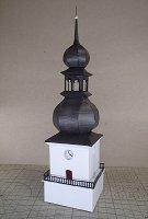 Papercraft imprimible y armable de la Torre de la Iglesia de Prokop en la República Checa. Manualidades a Raudales.
