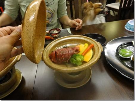 しぶごえ館山の夕食牛ヒレの松葉焼き