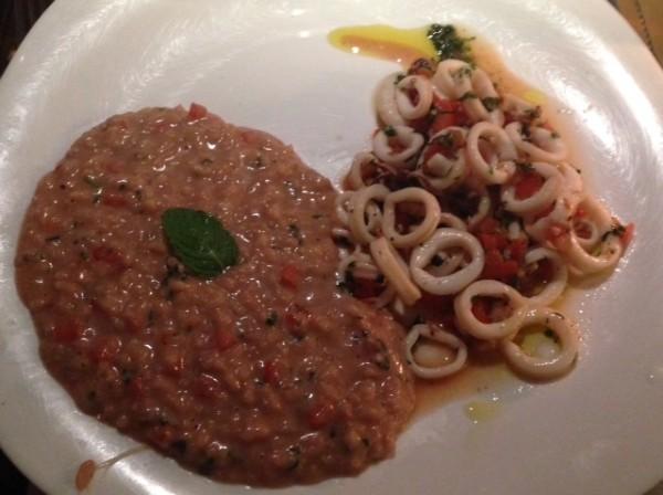 ula à provençal com risoto de tomate, hortelã e mussarela de búfala