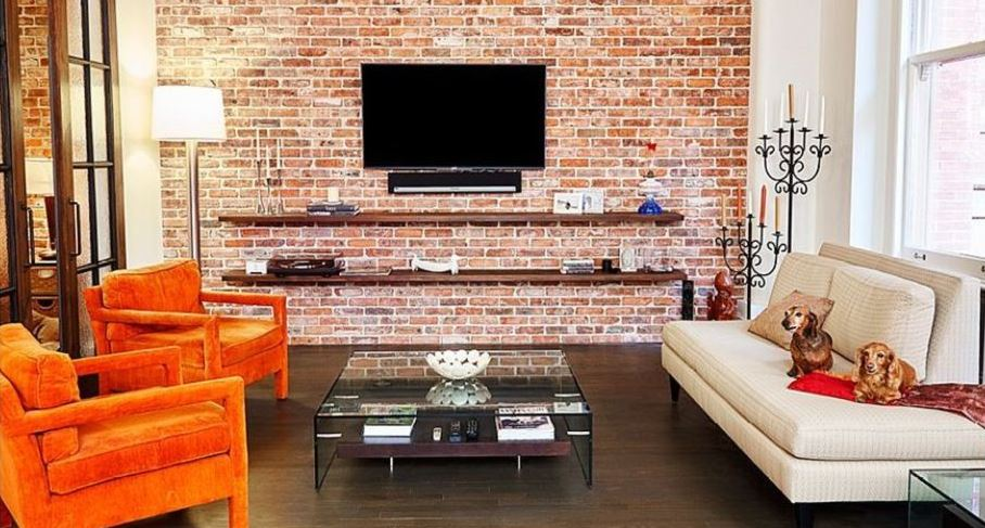 Living Room Wth Exposed Brick Wall