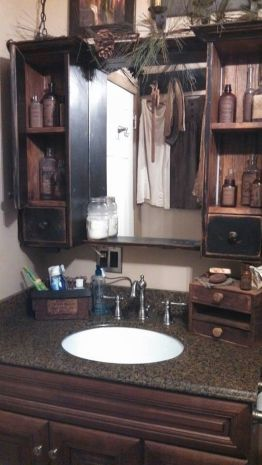 Awesome Rustic Country Bathroom Mirror Ideas 61