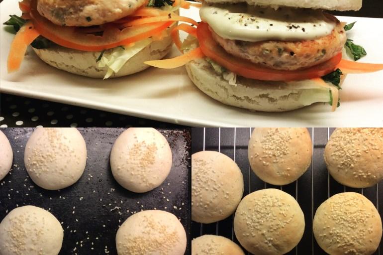 Lakseburgere, hamburgerbrød og aioli.