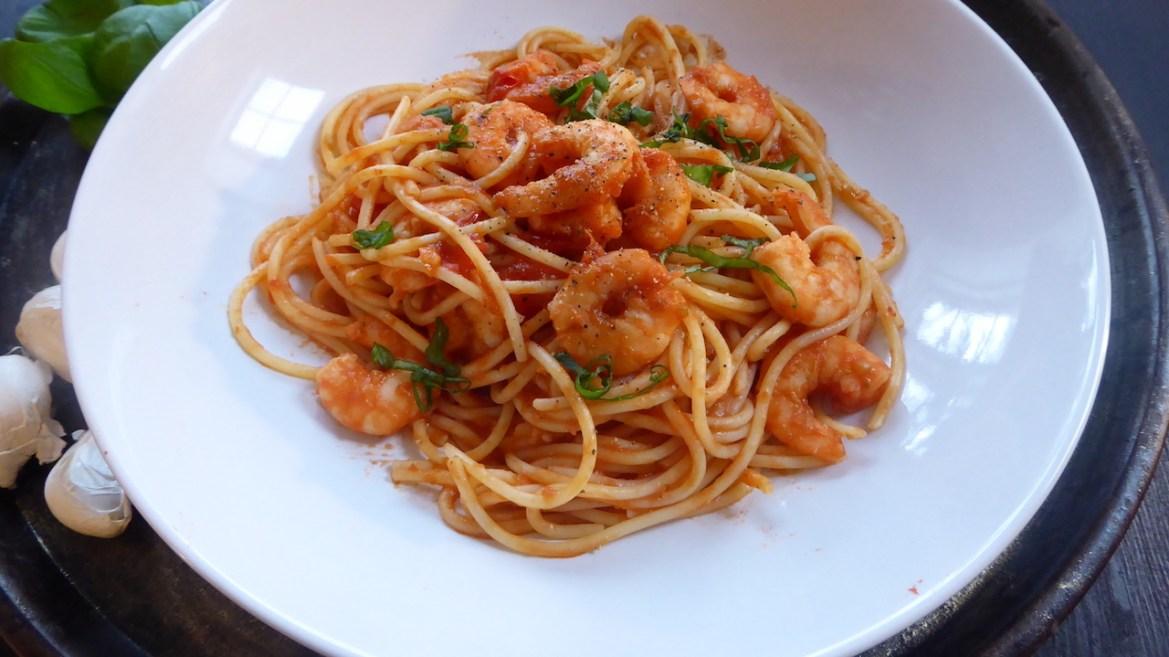 glutenfri pasta med scampi