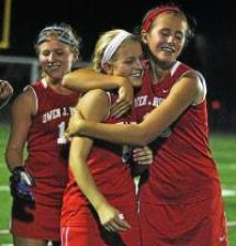 Owen J. Roberts' Madison Schaeffer hugs Corinne Gerber after Gerber scored the game-winning goal against Phoenixville in the PAC-10 semifinals. Gerber returns to OJR as the Wildcats look to contend for a conference championship (Barry Taglieber - For The Mercury).