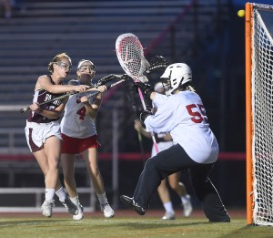Radnor's Emily Games fires a shot past Owen J. Roberts goalie Claire Hampton Thursday night. (Digital First Media/Pete Bannan)