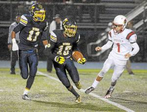 Gene Walsh — Digital First Media Wissahickon's Rasheed Wright gains yards after a Upper Dublin punt September 30, 2016.