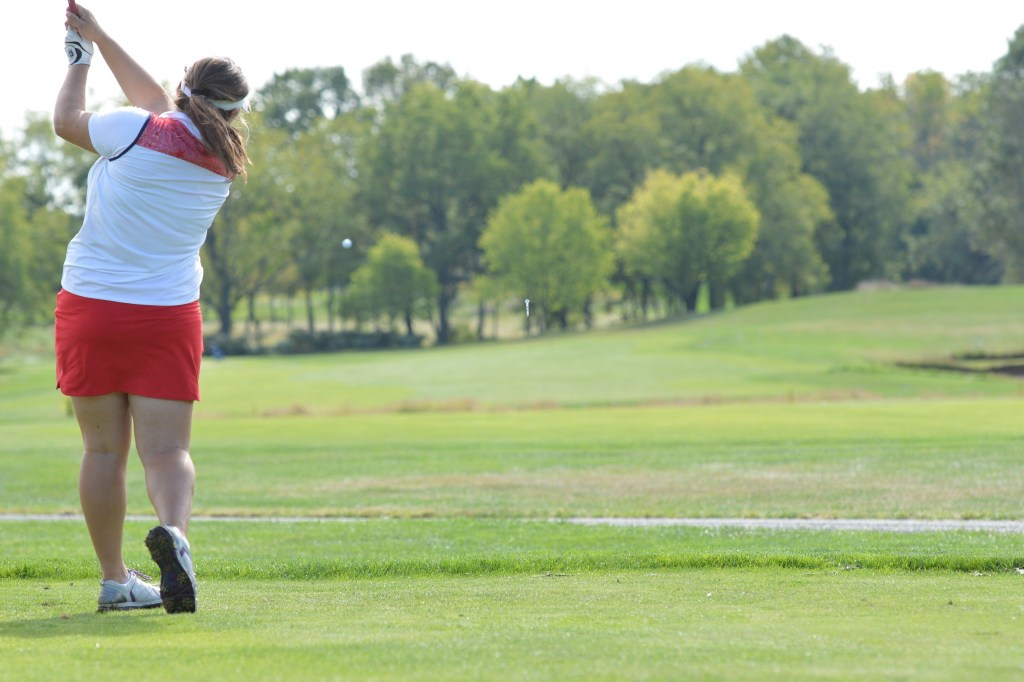 Hatboro-Horsham's Cassady Gavaghan tees off on the 16th hole during the Pioneer Athletic girls golf championships. (Sam Stewart - Digital First Media)