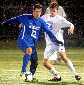 Bob Raines--Digital First Media Jack Johnston (North Penn) and James Tuley (Kennett) fight for possession Oct. 27, 2016.