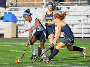North Penn's Amber Blackshear took charge over the ball against Wissahickon's quick defense on Monday.
