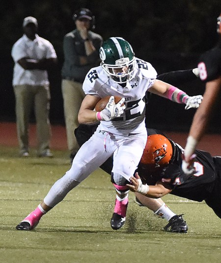 PETE BANNAN - DIGITAL FIRST MEDIA Ridley's Brock Anderson rushed for 114 yards on 15 carries in the Green Raiders' 17-14 victory over Marple Newtown Friday night.
