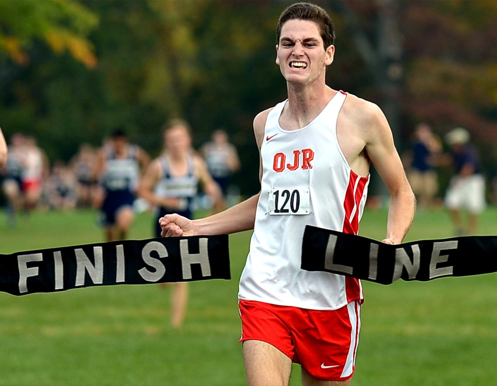 Bob Raines--Digital First Media Liam Conway (Owen J. Roberts) is first to finish at the PAC-10 cross country championships at Heebner Park, Worcester Oct. 20, 2016.