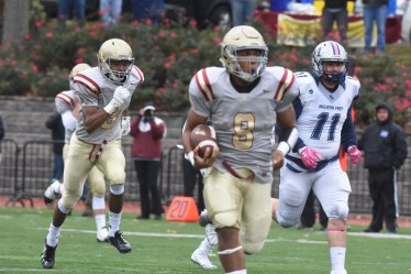 Haverford School's Mallik Twyman ran for 115 yards and two touchdowns in the Fords' 24-21 loss to Malvern Prep Saturday. The Friars handed the Fords their first Inter-Ac League defeat since 2013.