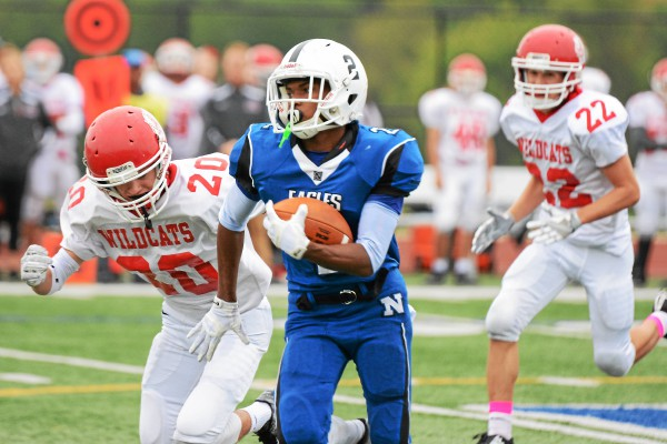 Norristown's Shannon Carnard carries the ball during the Eagles' game against Owen J. Roberts Saturday. (Jeff Davis - For Digital First Media)