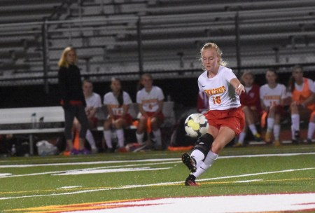 Penncrest's Carly Dunford unleashes a blast during Wednesday night's District 1 Class 3A semifinal against Gwynedd Mercy. (Digital First Media/Anne Neborak)