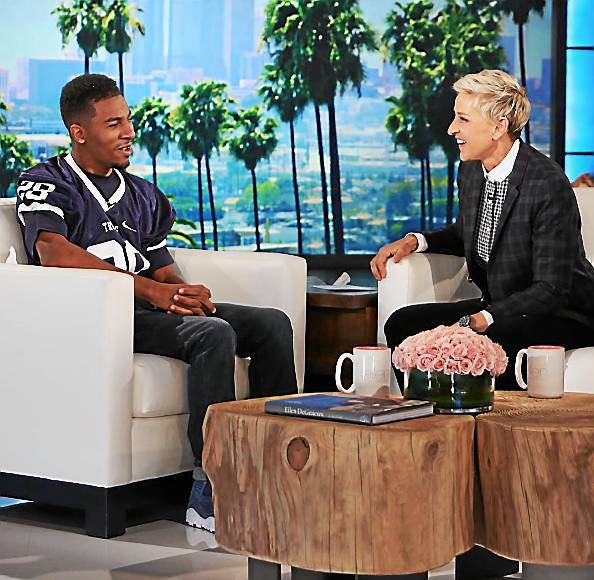 Pottstown native Marvin Pearson, left, sits down with Ellen DeGeneres of 'The Ellen Show' during an episode last month.  Photo courtesy The Ellen Show)