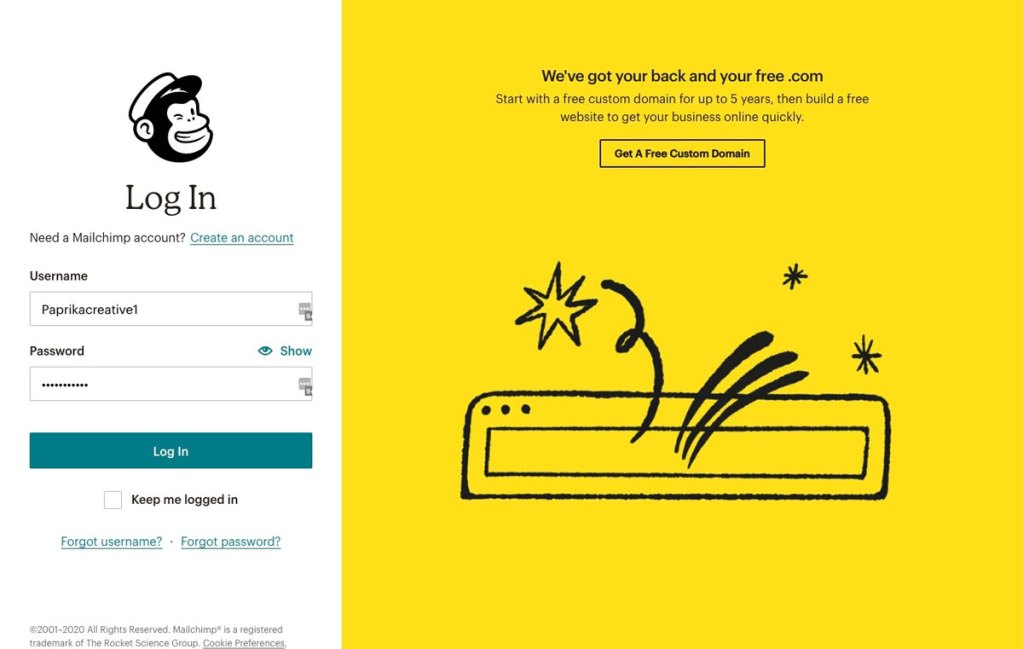 MailChimp Login Screen
