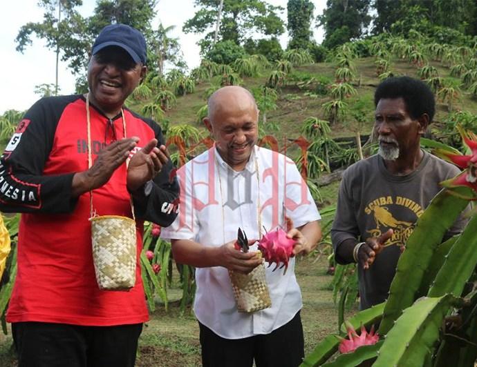 Menteri Koperasi dan UKM Audensi Dengan Pelaku Usaha Kecil di Lokasi Kebun Buah Naga, Jumat (29/2/). PbP/TLS