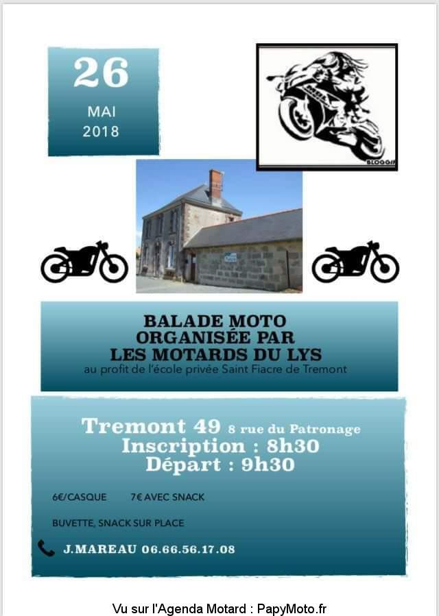 Balade Moto – Les Motards du Lys – Trémont (49)