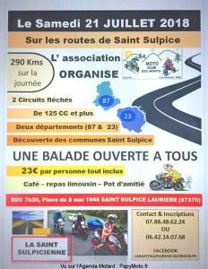 Balade moto- La Saint Sulpicienne - Moto Club des Monts - Saint Sulpice Lauriére (87) @ Saint Sulpice Lauriére (87) | Saint-Sulpice-Laurière | Nouvelle-Aquitaine | France