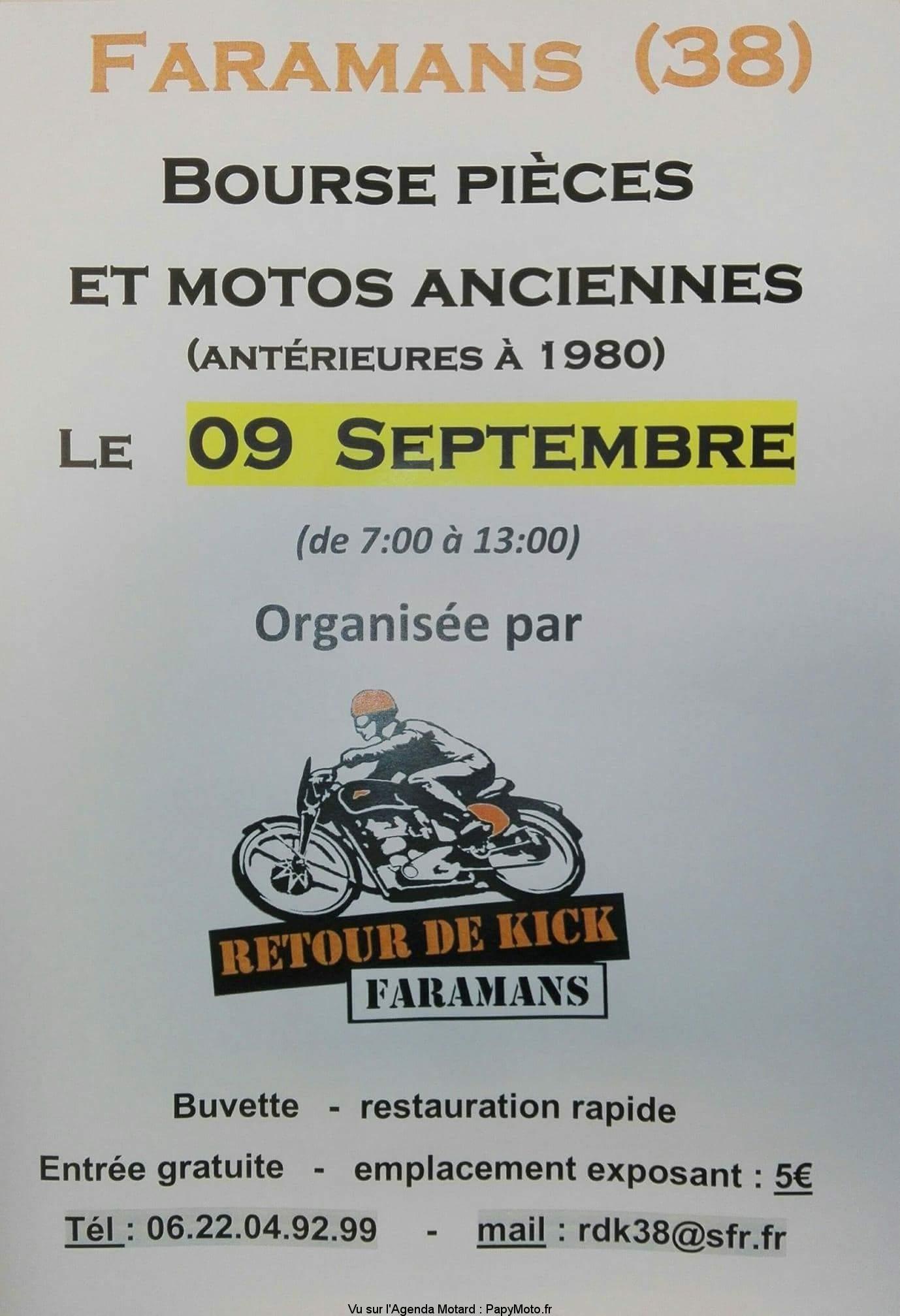 Bourse pièces et motos anciennes – Retour de kick – Faramans (38)
