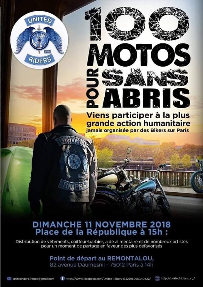 100 Motos pour sans abris – United Riders – Paris (75)